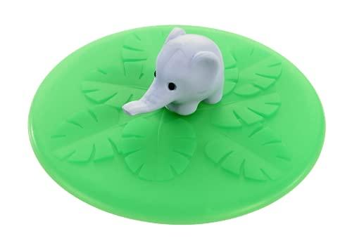 Lurch 210837 - Coperchio con elefante, in silicone, Ø 10,5 cm, colore: Verde