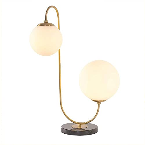 FACAZ Led Table Lamp, Creative Wrought Iron Double Head Desk Lamp Modern Minimalist Style Frosted Glass Ball Table Light, Stylish Personality Living Room Bedroom Bedside Lamp