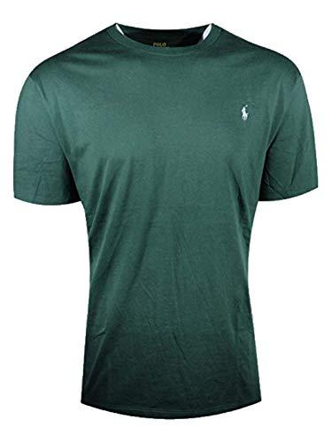 Polo Ralph Lauren Mens Big & Tall Pony Logo Crew Neck Jersey T-Shirt (1X Big, Pine Green (Light Blue Pony))