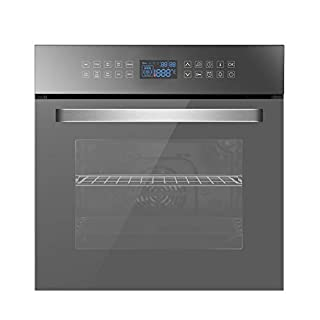 """Empava 24"""" Electric Convection Single Wall Oven 10 Cooking Functions Deluxe 360° ROTISSERIE with Sensitive Touch Control in Silver Mirror Glass, SWOC17, Black (B07XPTC699) 