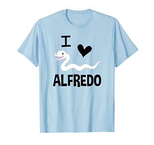 I Love Alfredo, I Heart Alfredo White Albino Ball Python T-Shirt