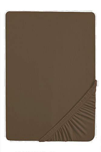 biberna 0077866 Lenzuolo Jersey-Elastic (Altezza materasso max.25 cm) 1x 90x190 cm  100x220 cm, brun cendré