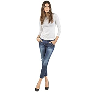 Women's Blue Medium Wash Ankle Zipper Crop Premium Jeans