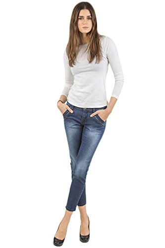 Women's Blue Medium Wash Ankle Zipper Crop Premium Jeans 3