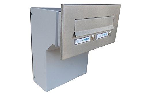 F-04 Edelstahl Mauerdurchwurf Briefkasten mit 2 Klingeln (Tiefe: 19-27 cm) - LETTERBOX24.de