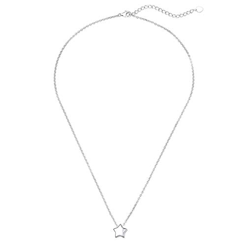 Silvora Sterling Silver Dainty Star Pendant Necklace, Valentine's Day Collection Romance 925 Sterling Silver Star Choker for Women Girls Minimalist Mini Necklace- Silver
