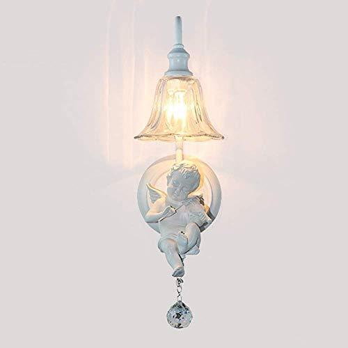 Mkjbd Wandlantaarn Tuinlamp Wandlamp Wandlamp Wit Europese Mode Hotel Kamer Nachtkastje Muur Lampen Creatieve Hars Viool Engel Lampen Wandlampen 16 x 48 cm Lampen Mode, MM