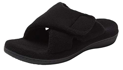Vionic Women's Indulge Relax Slipper - Ladies Comfortable Cozy Adjustable House Slippers with Concealed Orthotic Arch Support Black 11 Medium US