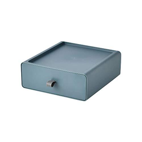 whxscsm Cajonera de escritorio, organizador de maquillaje cuadrado con cajones, organizador de escritorio apilable, organizador de oficina, mini cómoda para joyas, caja organizadora (azul)