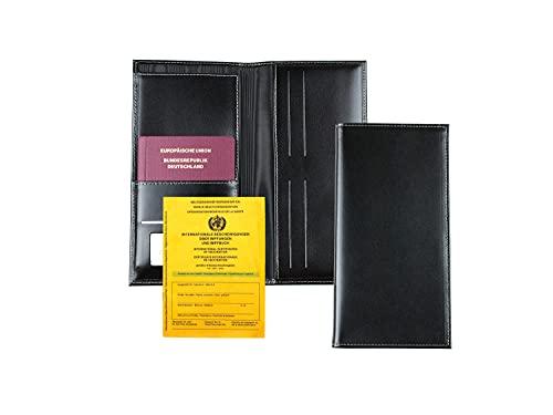 DELMON VARONE - Portafoglio da viaggio personalizzabile in pelle premium cambridge in nero, borsa porta documenti di viaggio per passaporto, familiari organizzatore di viaggi per uomo e donna