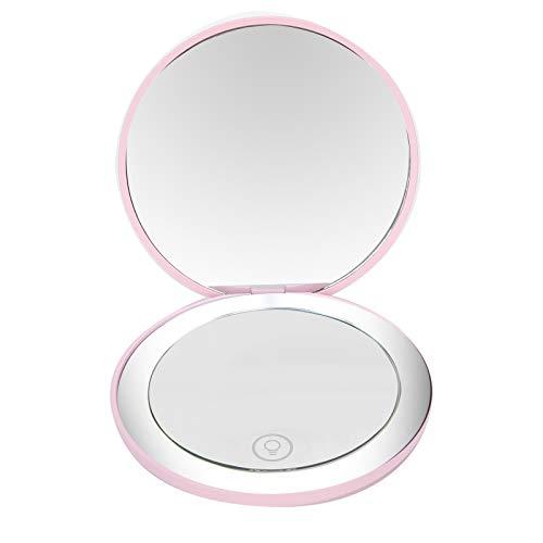 Espejo de maquillaje, luz clara recargable ajustable 2 veces espejo de tocador LED de aumento, para mujer niña