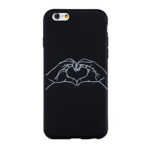 Yobby Silicone Cover per iPhone 6,Cover iPhone 6S Opaca Nera Ultra Thin Morbida Gomma Gel Custodia con Disegni Particolari,Cool Moda Posteriore Cover-Amore Cuore