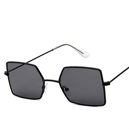 Gafas De Sol Rectangulares Pequeñas Gafas De Sol Amarillas para Hombres Marco De Metal Gafas Vintage Uv400 Adecuado para Compras De Viajes Al Aire Libre Y Tomar El Sol, Etc.- Negro