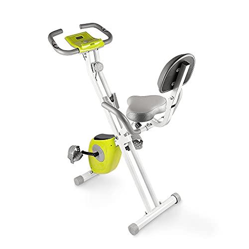 bigzzia Bicicleta estática de fitness con sensores de pulso/resistencia/pantalla LCD/respaldo, plegable, hasta 100 kg, para casa, deportistas y personas mayores, verde y blanco