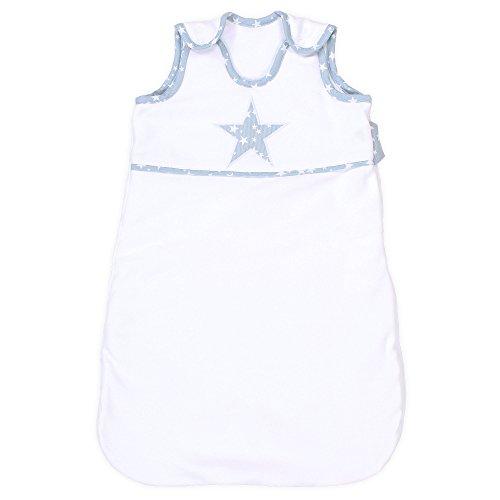 Babybay 500429 Sac de Couchage en Coton Organique, Blanc avec Application Bleu Ciel et étoiles Blanches, Multi Color, Taille Unique
