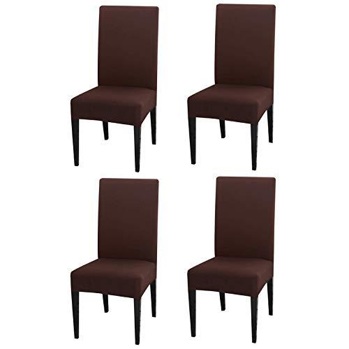 INMOZATA - Fundas para sillas de comedor o cocina, respaldo alto, de poliéster y elastano, elásticas, lavables y extraíbles, Poliéster y elastano., marrón, 4 unidades