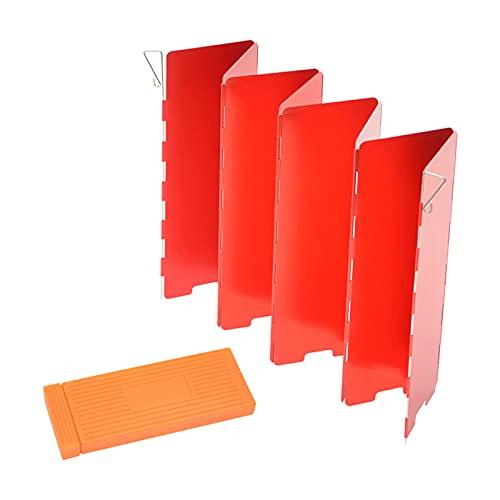 Hellery Estufa de Camping Parabrisas Aleación de Aluminio Plegable Mochilero Picnic Cocina Estufa al Aire Libre Parabrisas portátil BBQ - Rojo