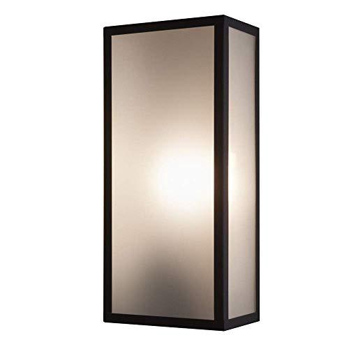 Außenwandleuchte in Schwarz mit mattem Glas, IP44 - Höhe 35cm - inklusive Leuchtmittel