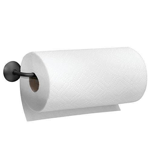 mDesign Küchenrollenhalter Wand - Halter für Papierrollen in Küche oder Bad - an der Wand zu befestigen - Farbe: Mattschwarz - Material: Stahl