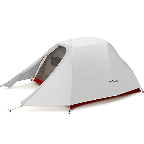 Three Donkeys Breeze-Up 1, 2 and 3 Person Lightweight Waterproof Camping and Backpacking Hiking Tent with Footprint (3P-Red White)