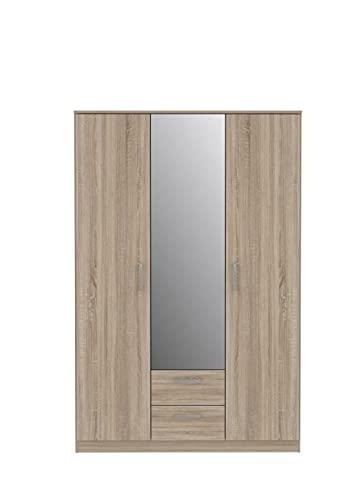 FORTE Kleiderschrank, Holzwarkstoff, Sonoma Eiche, 122,6 x 185 x 52,7 cm