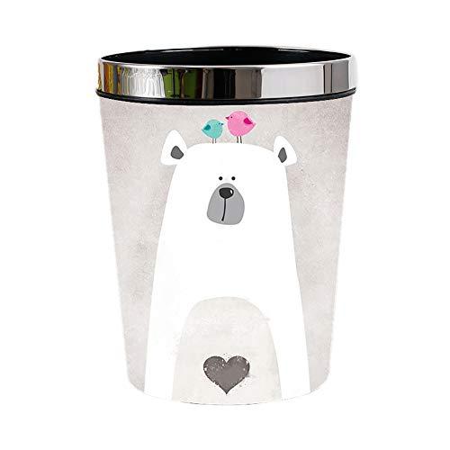 JUNGEN Cubo de Basura de Cuero plastico Bote de Basura Animal de Dibujos Animados para Niño Niña Papeleras de residuos del hogar con Diseño de Anillo de presión para Cocina Baño (Gris)