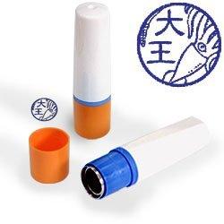 【動物認印】イカ ミトメ3・ダイオウイカ ホルダー:オレンジ/カラーインク: 青
