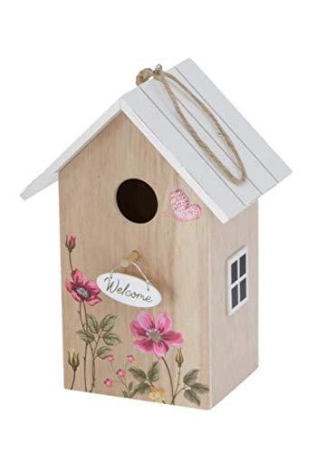 CasaJame Holz Vogelhaus für Balkon und Garten, Nistkasten, Haus für Vögel, Vogelhäuschen, Natur braun mit weißem Dach und Blumenwiesen Bemalung 15x12x22cm