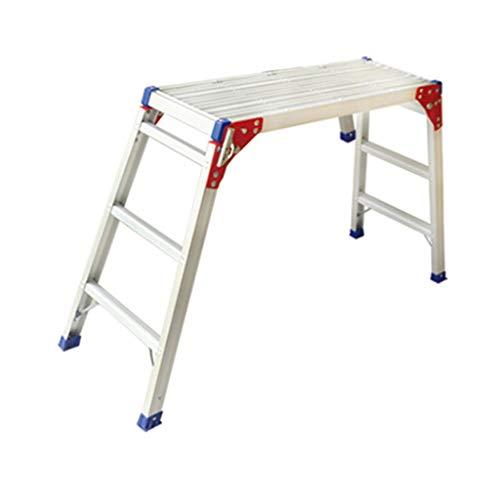Werkplatform Vouwen Aluminium Auto Wassen Lifting Platform Ladder Opvouwbare Draagbare Interieur Decoratie Ladder Trap Werkbank 120*31*120cm ZILVER