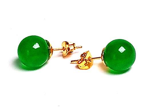Pendientes de bolas de jade verde natural de 10 mm de oro amarillo de 14 quilates 3D