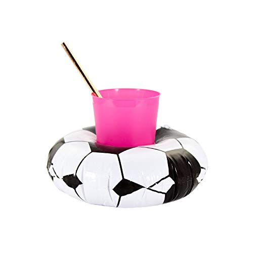 Oblique-Unique® Aufblasbarer Getränkehalter Trinkhalter Flamingo Einhorn Donut - wählbar - Cup Holder Mini Pool Spielzeug (Fußball)
