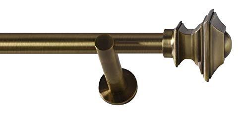 Sento 25mm Metall Gardinenstange Vorhangstange 1-läufig Messing Antik Modern BAROCCO 140 cm...