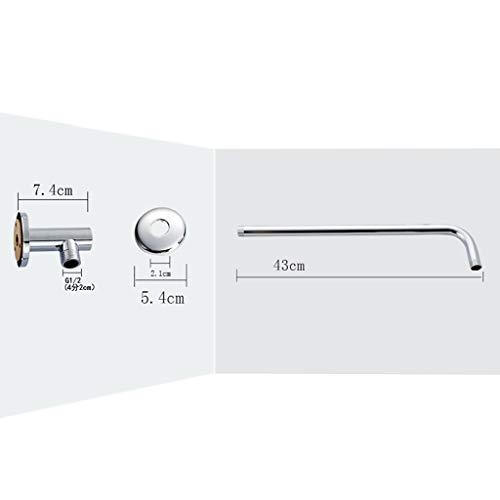 Duschkopf Hochdruck-Regenduschköpfe 12 '' Edelstahl Duschkopf poliert Spiegeleffekt Kopfbrause Regenbrause mit Anti-Kalk Düsen Wasserfall Regenduschkopf (Kupferne Querstange)