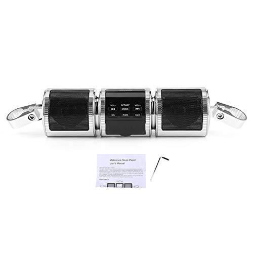 KIMISS Altavoz estéreo inalámbrico para Motocicleta, Altavoces estéreo para Motocicleta Sistema de Audio Reproductor de música MP3 Impermeable Sistema de Audio USB AUX SD Radio