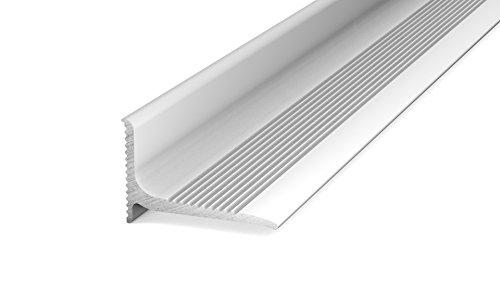Prinz Aluminium - Wandanschlussprofil 290 - Abschlussprofil selbstklebend. Für Belagstärken ab 2 mm 20 x 13 mm - 1,00m Silber