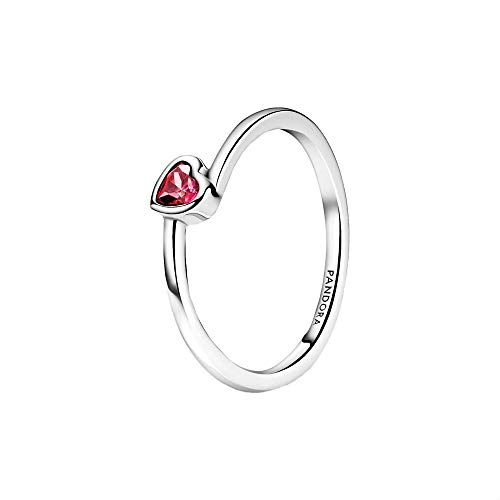 Pandora People red inclined heart solitaire ring made of sterling silver with red zirconia, ring size: 52