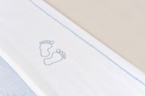 Jollein 008-511-64959 Laken, 75 x 100 cm, Little feet blauw