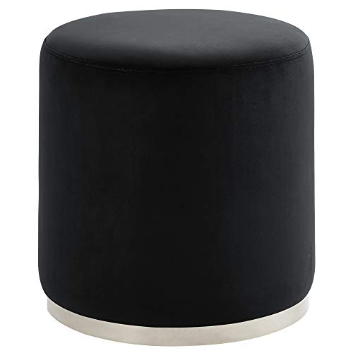Velvet Round Ottoman, Black and Silver