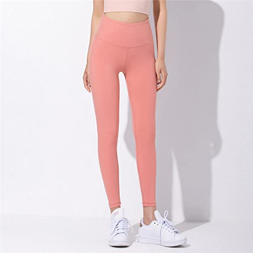 GREQ Pantalones de Fitness para Mujer High Waist Hip-Lifting Yoga Pants Women's Fitness Pants Peach Hip Quick-Drying Tights Running Sports Tights Women-Pink Orange_M