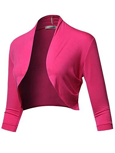 SSOULM Women's 3/4 Sleeve Open Front Bolero Shrug Cardigan Fuchsia M