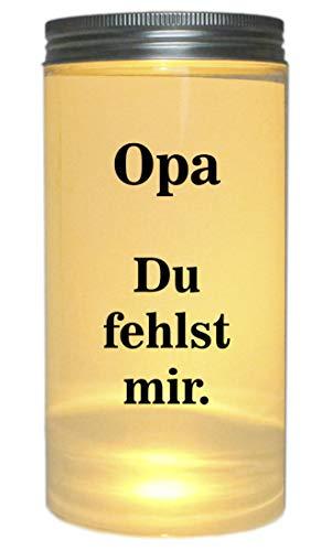 WB wohn trends LED-Licht Opa Du fehlst Mir. Trauer-Licht, 14x7cm Dose mit Deckel Leuchte LED-Lampe mit Text Spruch