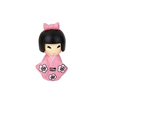 Rosetreee Bonsai Ornament Miniatuur Meisje in Kimono Fee Tuin Mos Micro Landschap Bonsai Decor ambacht (roze) Landschap Decoratie