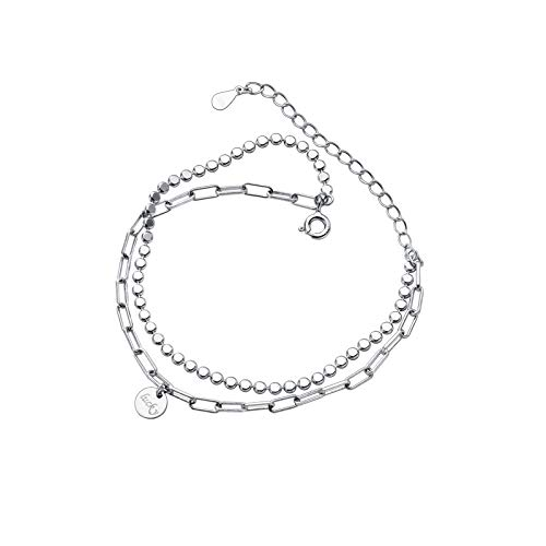 Bracelets For Womens,S925 Sterling Silver Circle Bracelet Lucky Letters Double Layer Flat Ball Chain Link Chain 8&Quot;Punk Adjustable Bangle Jewellery For Ladies Mum Wife Friends Anniversary Birthd