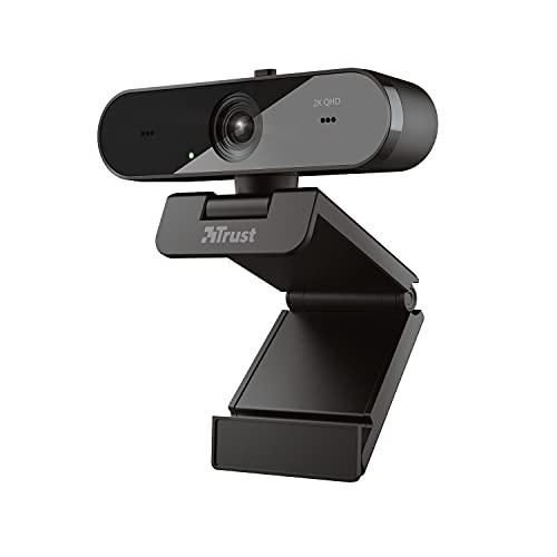 Trust Taxon Webcam 2K QHD (2560 x 1440), Dos Micrófonos Integrados, 30 FPS, Autofocus, Camara Web, Web CAM, para Streaming, Youtubers, Videoconferencia, Skype, Teams, Ordenador/PC/Mac/Macbook, Negro
