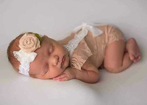 iSpchen Neugeborenes Baby Kinder Fotografie Requisiten Spitze Backless Baby Mädchen Jungen Strampler Outfit Kleidung Geschenk Kamel