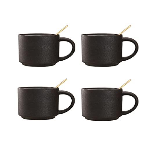 Kubek kubek kubek ceramiczny zupy kubki z uchwytami i łyżką 10.1oz szerokości dużych kubków kawy Zestaw 4 kubek do zupy Latte Herbata, Cappuccino dla mężczyzn kobiet