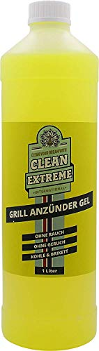 CLEANEXTREME Grillanzünder Gel 1 Liter - Flüssiger Grillanzünder für Holzkohle, Grillkohle, Grillbriketts. Sicheres Anzünden ohne Stichflamme
