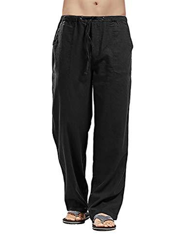 Minetom Homme Pantalon en Mélange Coton Lin Large Décontracté Plage Été Léger Confortable Respirant Pants Grande Taille A Noir XL