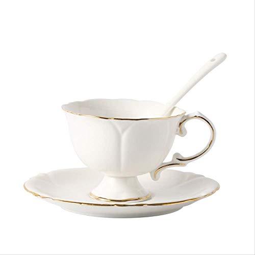 YUNLIN Bone China Espressotasse Gold Gestreift Weiße Keramikblume Teetasse Untertasse Hause Nachmittagstee Tasse 180Ml