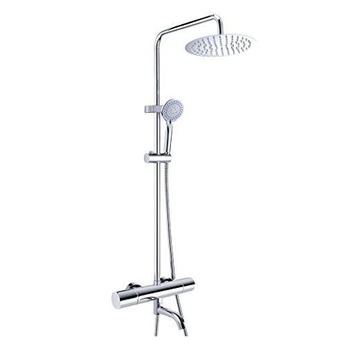 Sistemi per vasche da bagno e docce Set Doccia Doccia termostatica Doccia termostatica Intelligente Set Doccia Soffione Doccia Multifunzione (Color : Silver, Size : 73-120cm)